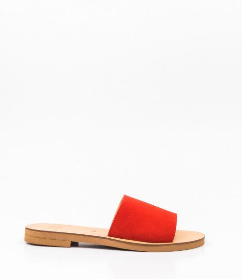Flat σανδάλια με φάσα - Κόκκινο