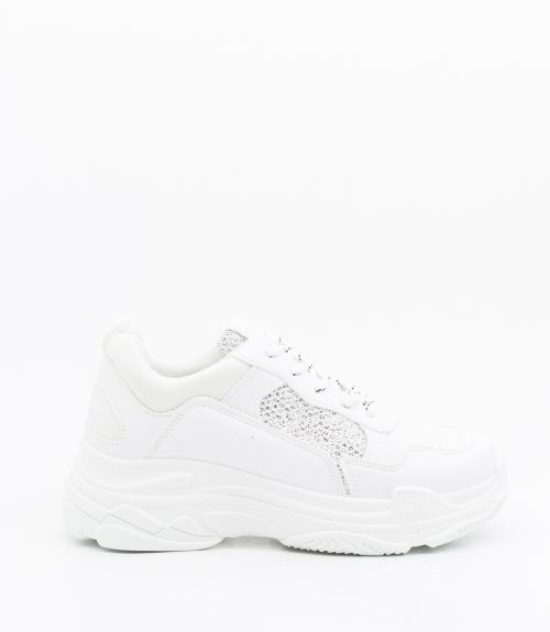 Sneakers με glitter - Λευκό