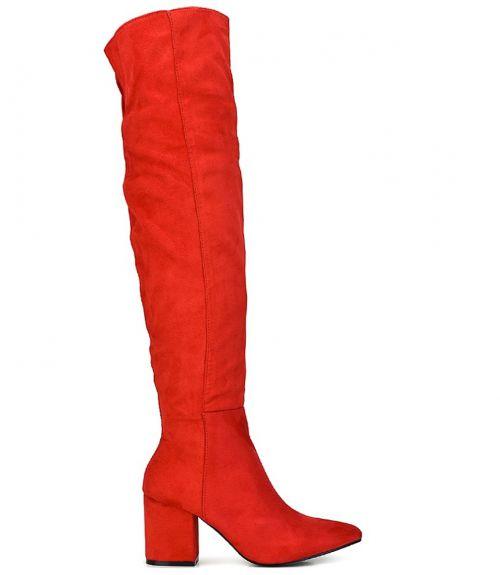 Μπότες suede - Κόκκινο
