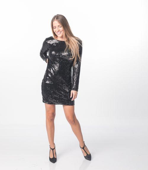 Φόρεμα με παγίετες - Μαύρο