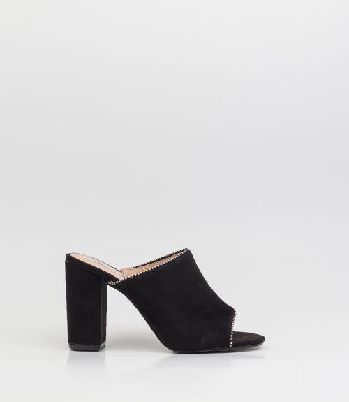 Suede mules με τρουκ - Μαύρο