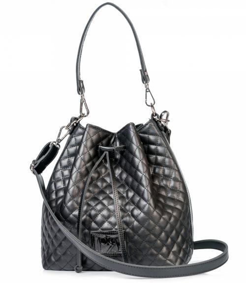 Τσάντα πουγκί καπιτονέ  - Μαύρο