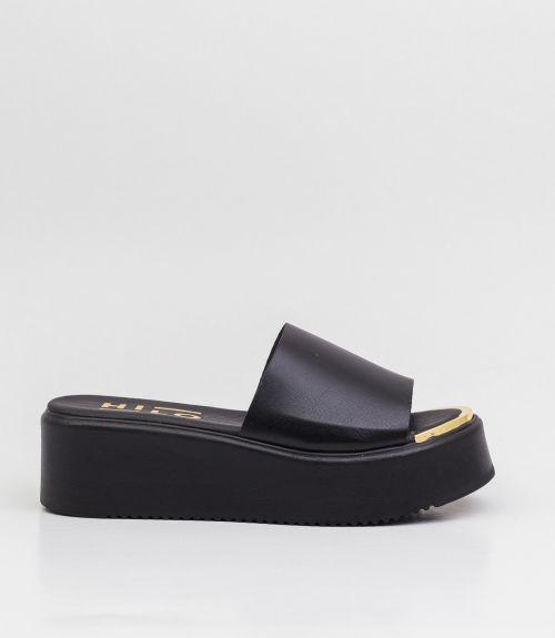 Flatforms με φάσα και μεταλλικό διακοσμητικό - Μαύρο