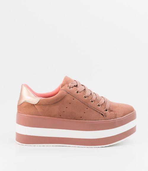 Δίπατα suede sneakers - Ροζ