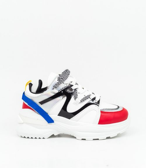 Sneakers με συνδυασμό υλικών και χρωμάτων  - Κόκκινο