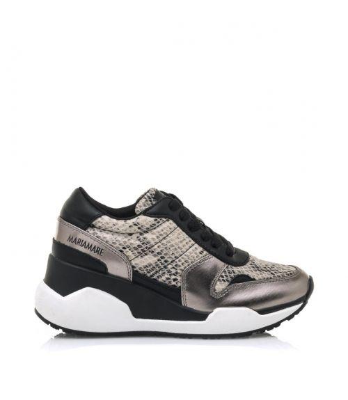 Sneakers δερμάτινα με snakeskin - Μαύρο