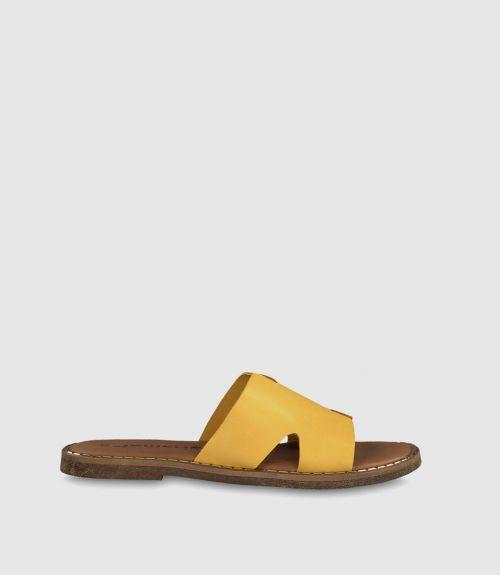 Δερμάτινες παντόφλες tamaris - Κίτρινο