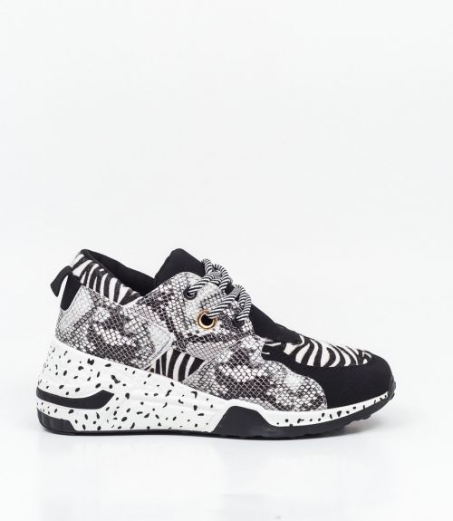 Sneakers με animal print - Μαύρο