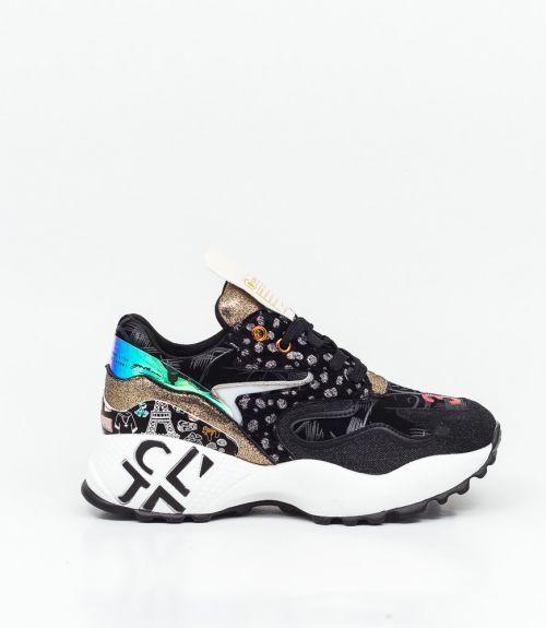 Sneakers με χρωματιστά σχέδια  - Μαύρο
