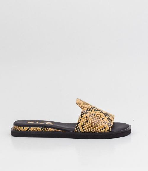 Δερμάτινα σανδάλια με snake skin φάσα - Κίτρινο