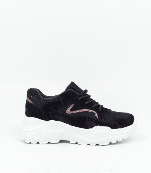 Suede sneakers με λευκή σόλα  - Μαύρο