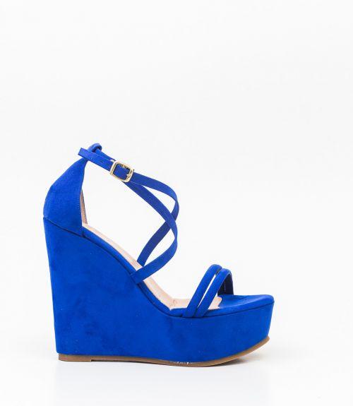 Suede πλατφόρμες με λουράκια χιαστί - Μπλε