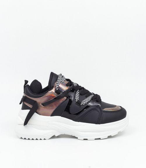 Sneakers με συνδυασμό υλικών και χρωμάτων  - Μαύρο