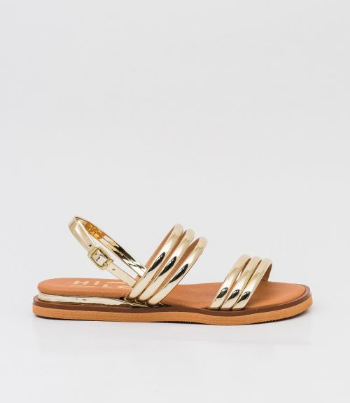 Flat πέδιλα με λουράκια - Χρυσό