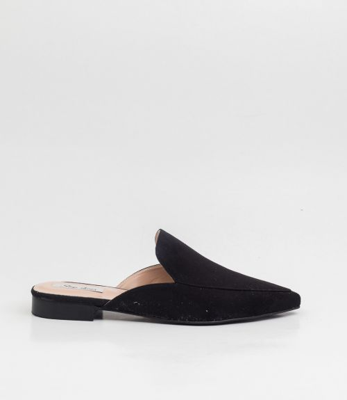 Flat suede mules - Μαύρο
