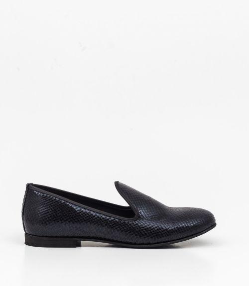 Loafers με snakeskin - Μαύρο