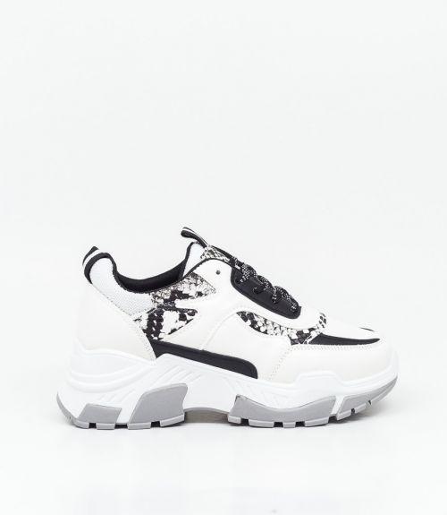 Sneakers λευκά με snakeskin - Λευκό