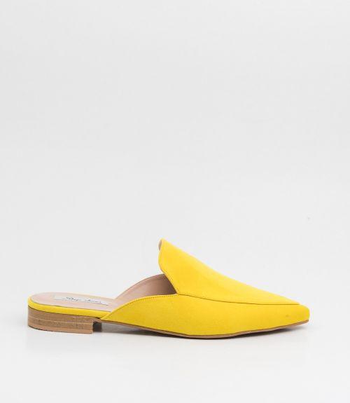 Flat suede mules - Κίτρινο