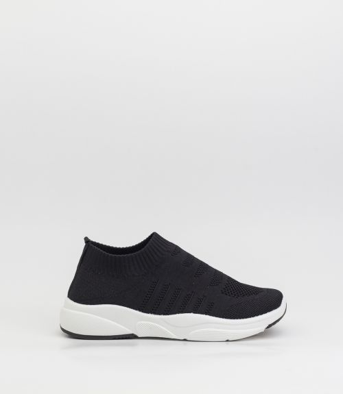 Sneakers κάλτσα από μαλακό ύφασμα - Μαύρο