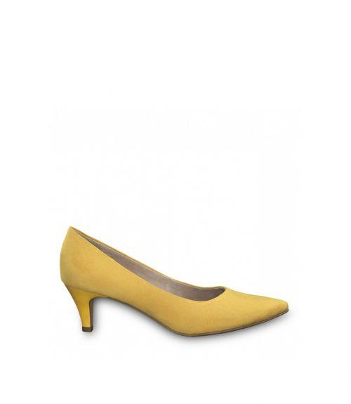 Tamaris μυτερές suede γόβες - Κίτρινο