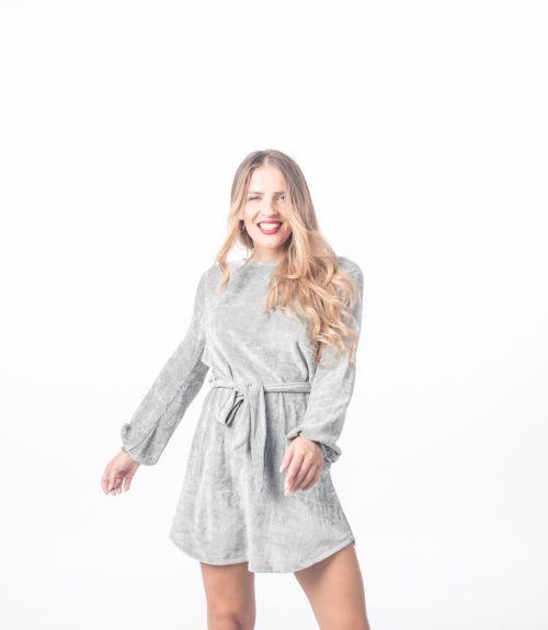 Φόρεμα βελουτέ - Γκρι