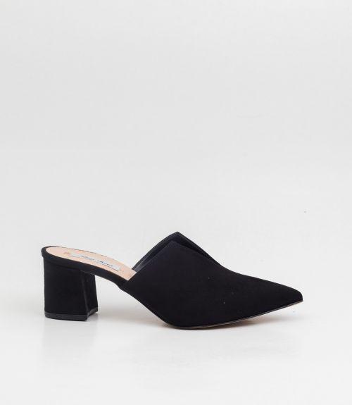Suede mules με τακούνι και άνοιγμα - Μαύρο