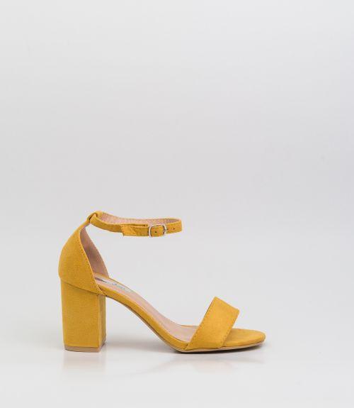 Suede πέδιλα με μπαρέτα  - Κίτρινο