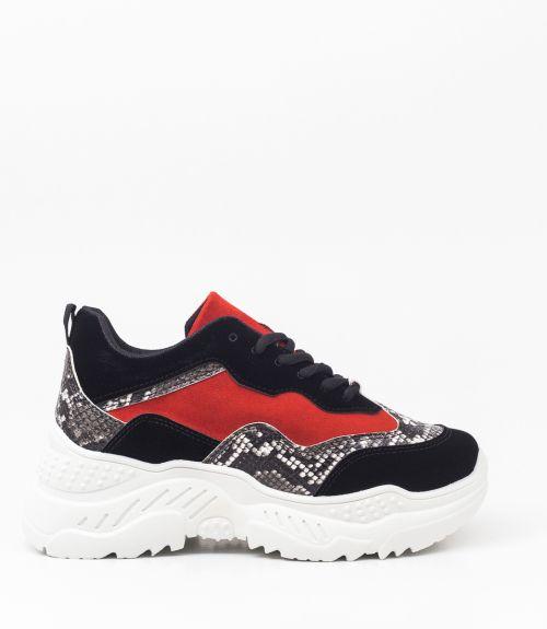 Suede sneakers με συνδυασμό χρωμάτων  - Κόκκινο