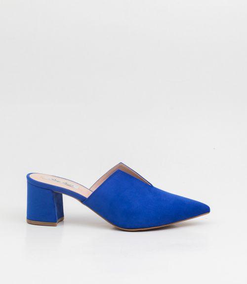 Suede mules με τακούνι και άνοιγμα - Μπλε