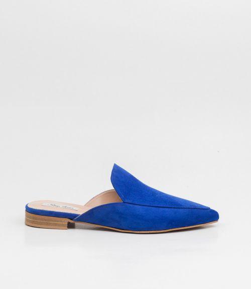 Flat suede mules - Μπλε