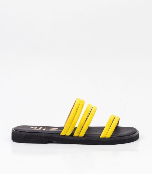 Σανδάλια με suede λουράκια - Κίτρινο