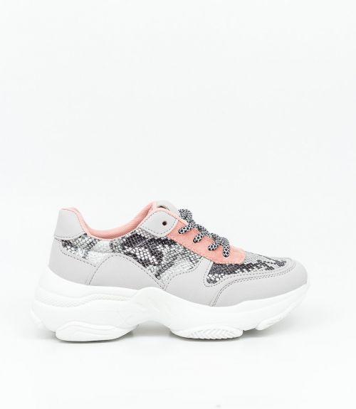 Sneakers με λεπτομέρειες snakeskin - Γκρι