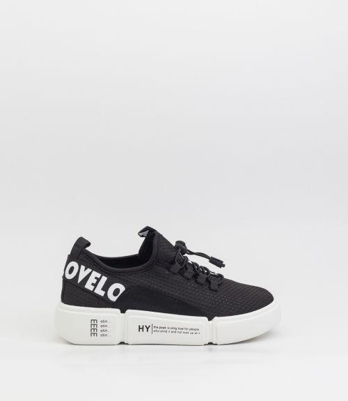 Sneakers από ελαστικό ύφασμα - Μαύρο