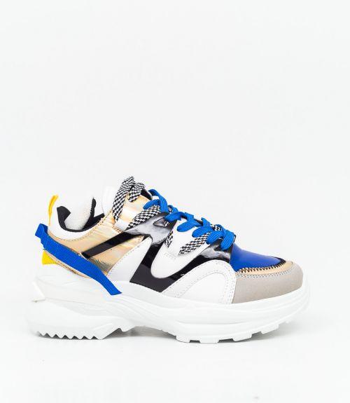 Sneakers με συνδυασμό υλικών και χρωμάτων  - Μπλε