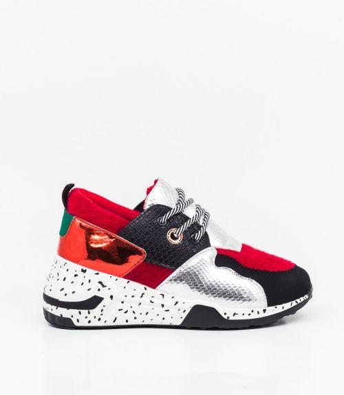 Sneakers με animal print - Κόκκινο