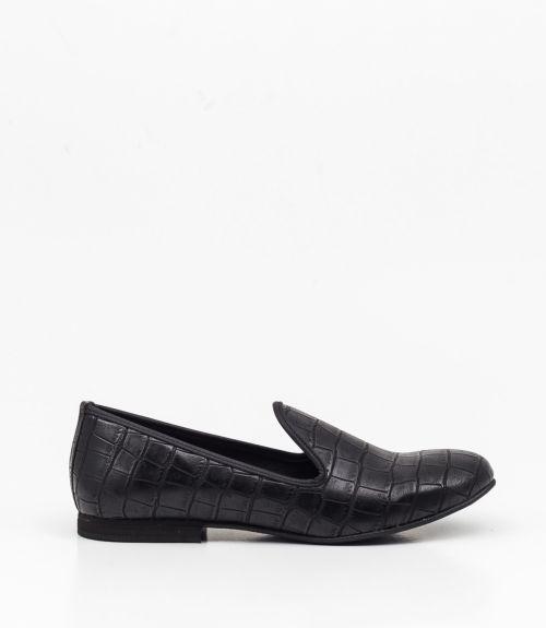 Loafers από κροκό υλικο  - Μαύρο
