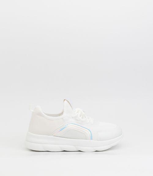 Sneakers με μεταλλιζέ λεπτομέρειες  - Λευκό