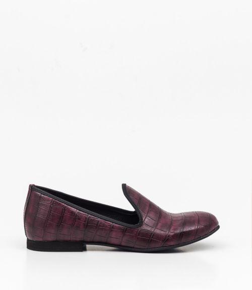 Loafers από κροκό υλικο  - Μπορντό