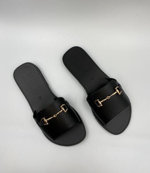 Δερμάτινα flat σανδάλια με διακοσμητικό  - Μαύρο