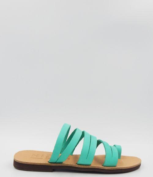 Δερμάτινα σανδάλια με λουράκια - Πράσινο