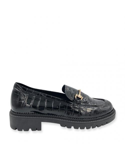 Loafers με εγκράφα - Μαύρο