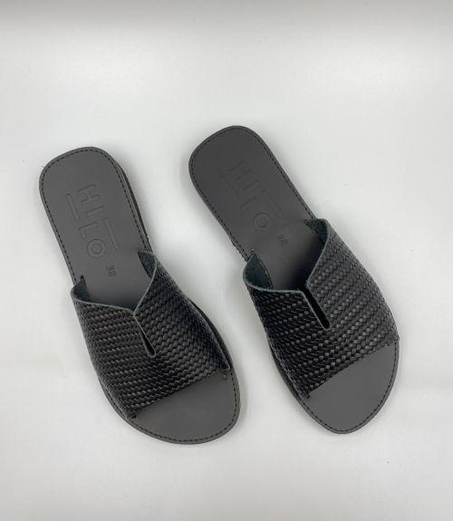 Δερμάτινα flat σανδάλια  - Μαύρο