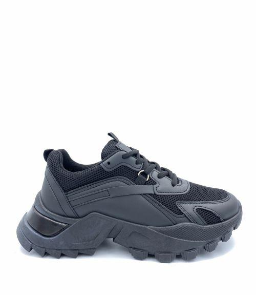 Sneakers με τρακτερωτή σόλα - Μαύρο