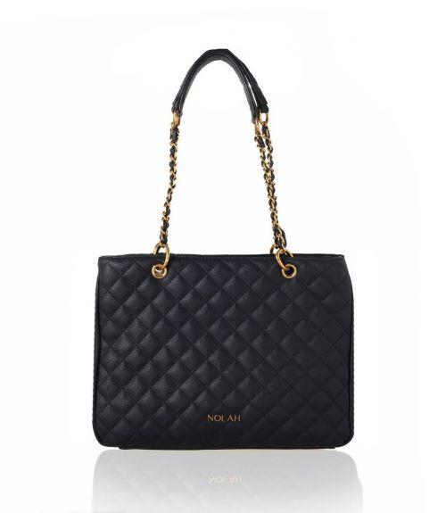 Lillian καπιτονέ τσάντα με αλυσίδα - Μαύρο
