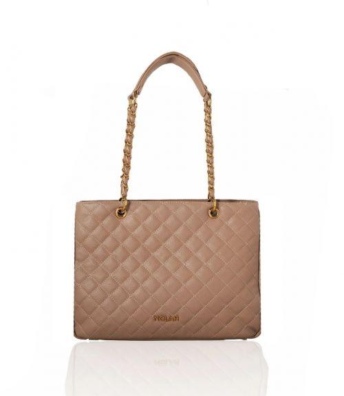 Lillian καπιτονέ τσάντα με αλυσίδα - Μπέζ