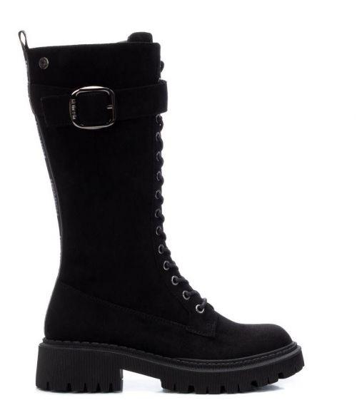 Suede μπότες με κορδόνια - Μαύρο