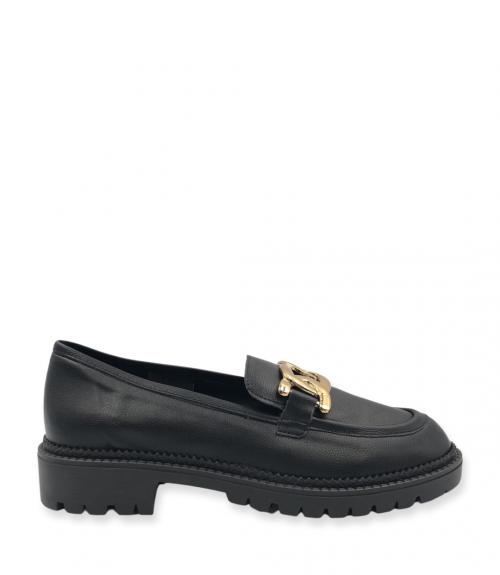 Loafers με μεταλλική εγκράφα - Μαύρο