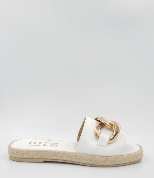 Flat σανδάλια με αλυσίδα  - Λευκό