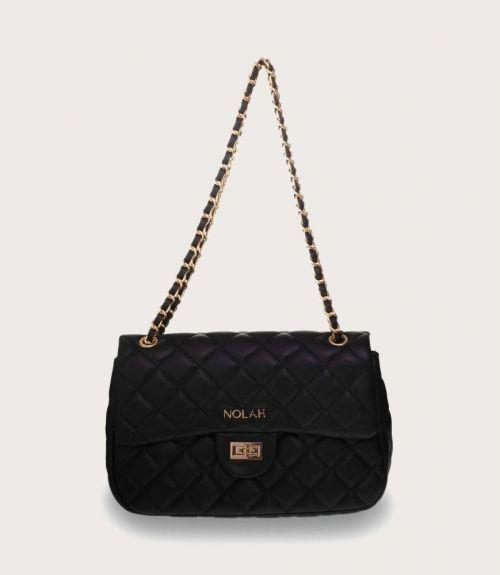 Audrey καπιτονέ τσάντα (medium size) - Μαύρο