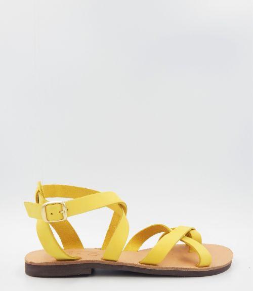 Δερμάτινα φλατ πέδιλα - Κίτρινο